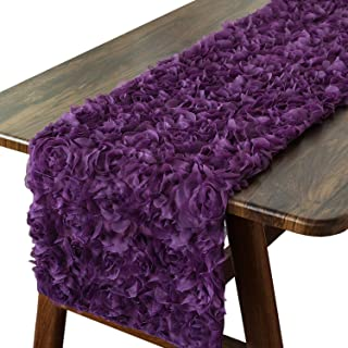 CaliTime Table Runner 14 X 72 Inches Solid 3D Stereo Chiffon Rose Flower Non-Slip Table Runner Dresser Scarf for Dining Pa...