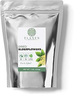 Dried Elderflowers 1 lb. (16 oz.), Contains Organic Non-GMO Dried Elder Flowers in non-BPA Packaging, Elderflower Tea, Eld...