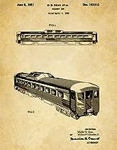 Train Railway Patent Wall Art Print - one (11x14) Unframed - wall art decor for locomotive lovers