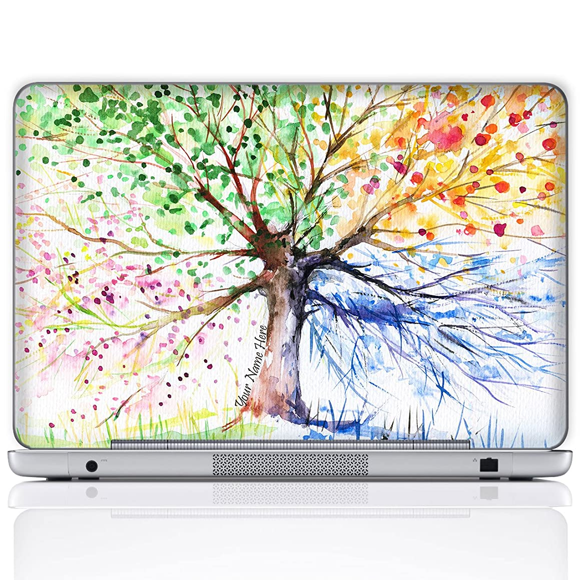 Meffort Inc Personalized Laptop Notebook Notebook Skin Sticker Cover Art Decal, Customize Your Name (15.6 Inch, Four Seasons Tree)