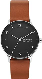 Skagen Men's Riis Stainless Steel and Leather Quartz Analog Minimalist Watch