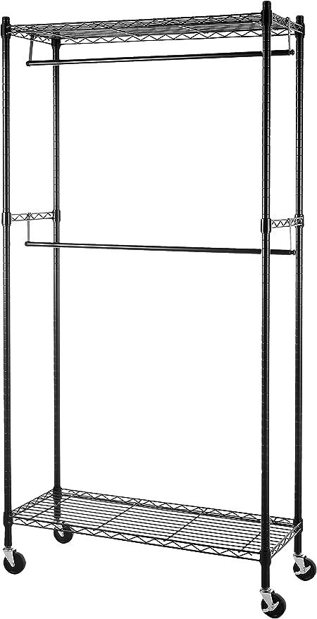 Gancho y Ruedas tama/ño 90 x 45 x 200 cm Perchero de Acero Cromado para Dormitorio con Doble Barra para Colgar Perchas Negro BAKAJI Estante Ajustable