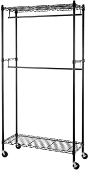 AmazonBasics Double Hanging Rod Garment Rolling Closet Organizer Rack, Black - 72 Inch Height