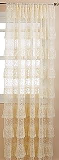 "Lorraine Home Fashions, Ivory Priscilla Window Curtain Pairs, 120 X 84 Inch, Set of 2, 120"" x 84"""