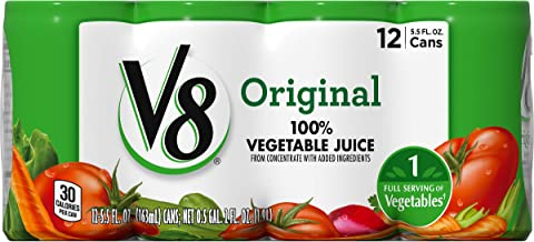 V8 Original 100% Vegetable Juice, 5.5 oz. Can, 12 Count