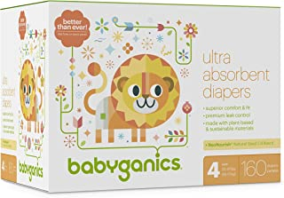 Diapers, Size 4, 160 ct, Babyganics Ultra Absorbant Diapers, Packaging May Vary
