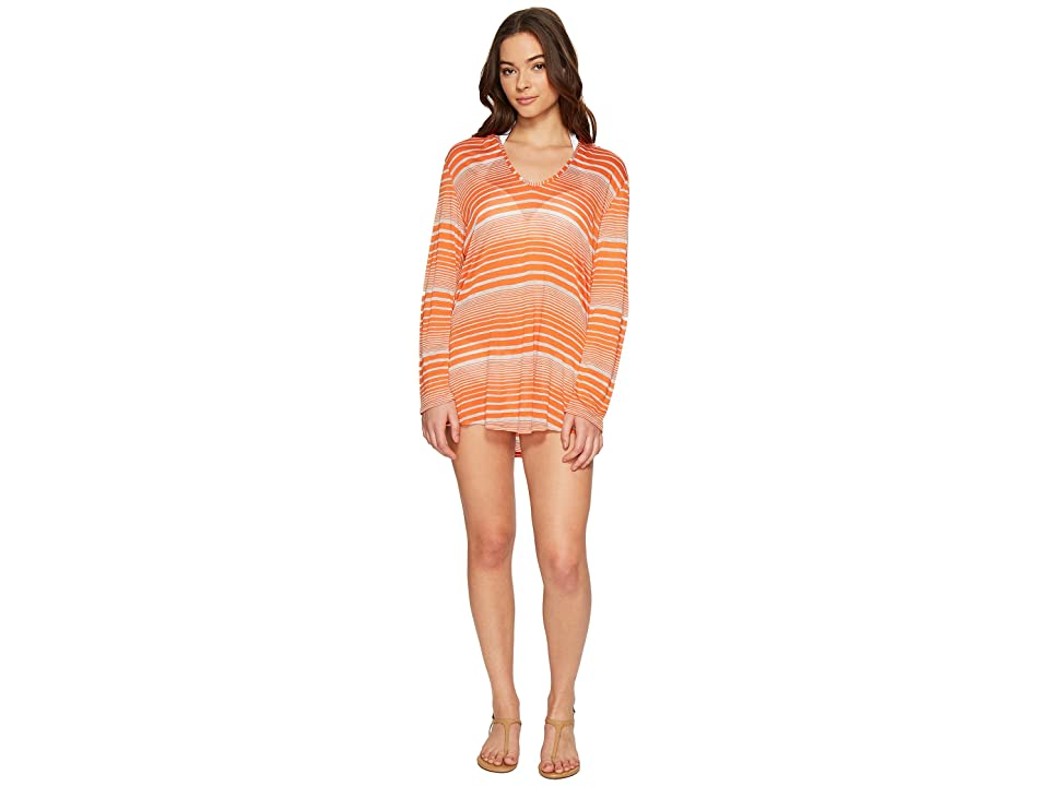 Splendid Sun-Sational Solids Hoodie Tunic Cover-Up (Tiger Lily) Women