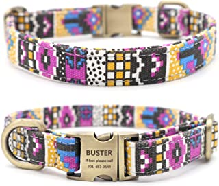 Youyixun Customized Nylon Dog Collar, Personalized Dog Collar Engraved with Name and Phone Number,Adjustable ID Dog Collar with Quick-Release Buckle