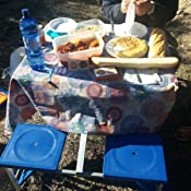 Outsunny Mesa Maleta de Camping Plegable Portátil 4 Asientos y Agujero Sombrilla Estructura Aluminio Playa Picnic 84.5x64.5x66cm (Azul)