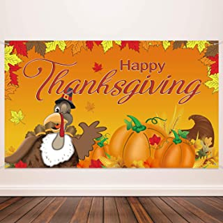 Happy Thanksgiving Decorations Fall Banner Thanksgiving Background Turkey Maple Leaves Pumpkin Banner Thanksgiving Backdrop Banner, 72.8 x 43.3 Inch