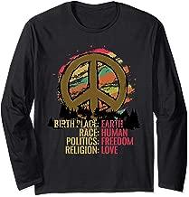 Earth Day Peace Symbol Love Human Race Freedom Long Sleeve T-Shirt