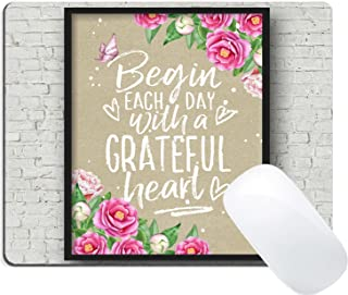 Wknoon Gaming Mouse Pad Christian Quotes Bible Verse Scripture Proverbs, Begin Each Day with A Grateful Heart, Pink Floral and Butterfly Wood Art on The Grey Wall