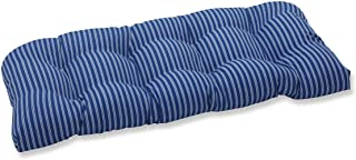 """Pillow Perfect Outdoor/Indoor Resort Stripe Tufted Loveseat Cushion, 44"""" x 19"""", Blue"""