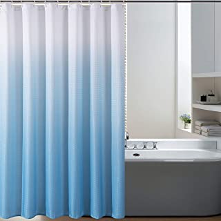 Bermino Textured Fabric Bath Shower Curtain - Ombre Shower Curtains for Bathroom with 12 Hooks, 70 x 72 inch, Sky Blue Gradient
