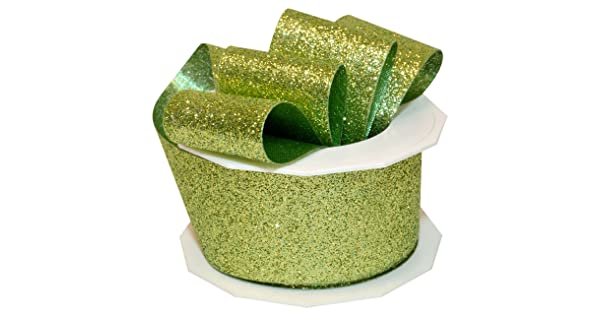 1-1//2-Inch by 10-Yard Morex Ribbon 98509//10-027 Princess Glitter Metallic and Nylon Ribbon Lime