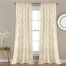 ستائر نافذة مزخرفة بكشكشة بنمط الماس من لاش ديكور لغرفة المعيشة وغرفة الطعام