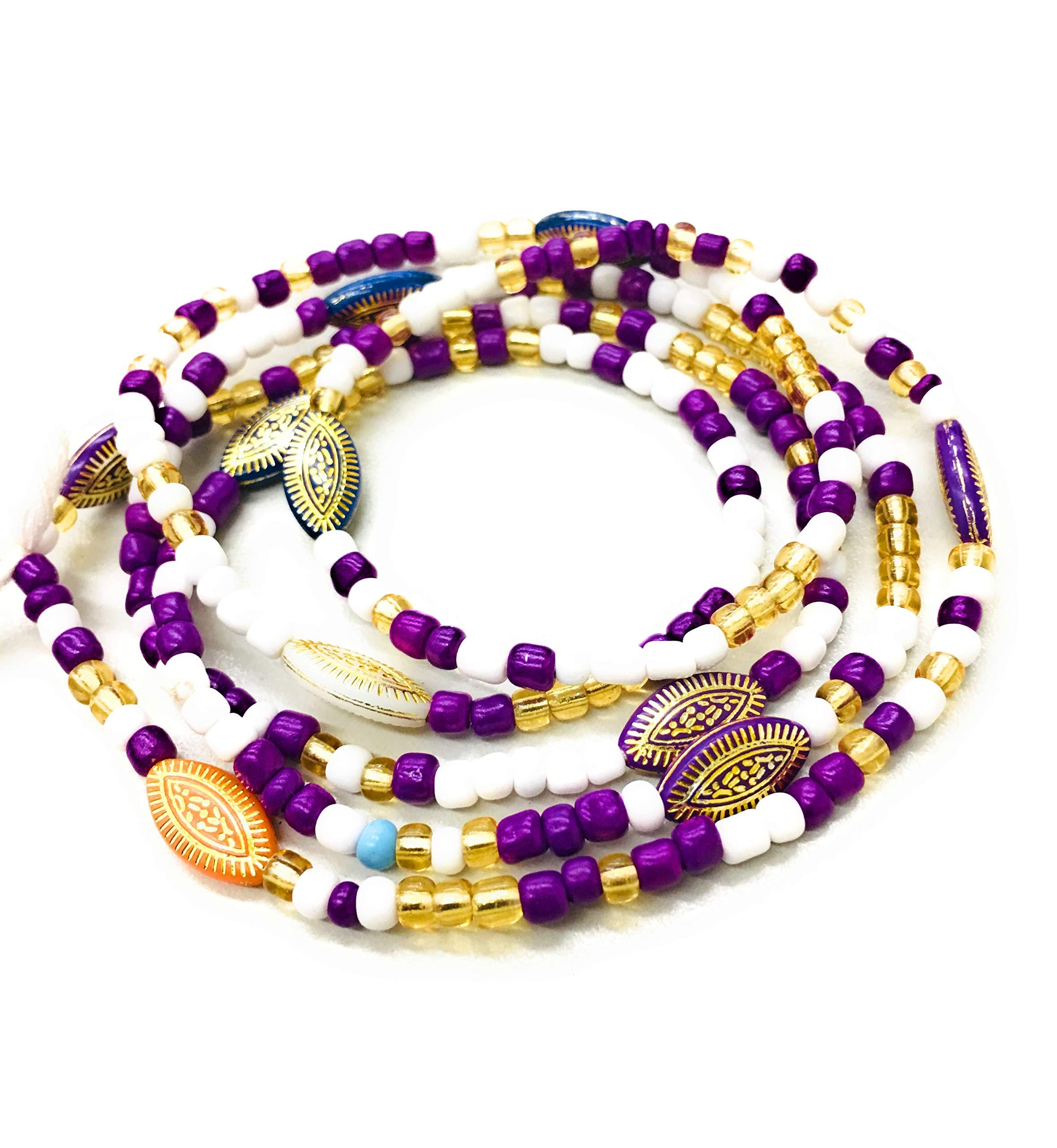 Purple White Waist Beads African Waist Bead Ghana Waist Beads Tribal Waist Beads Tie On Made With Thread Buy Online In El Salvador At Elsalvador Desertcart Com Productid 121347294
