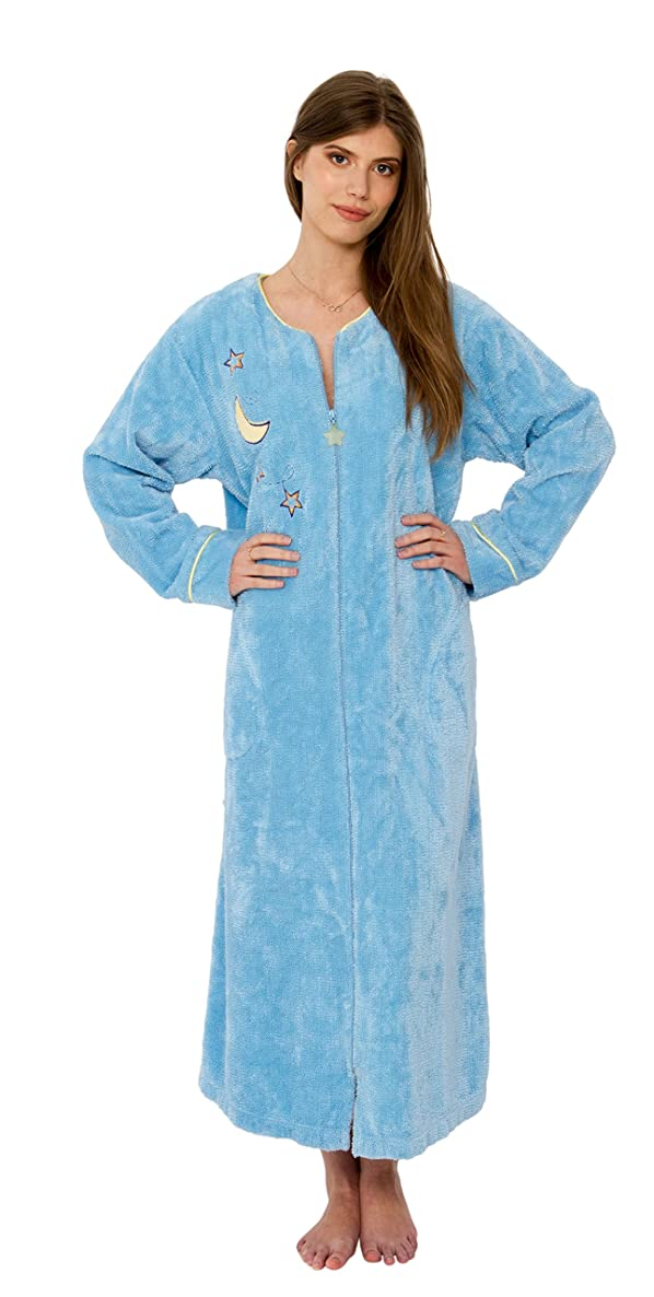 Bath & Robes Women's Long Chenille Robe Embroidered Coffee Cup, Moon Star, Snowflake