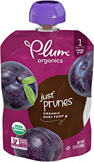 Plum Organics Stage 1 Baby Food, Just Prunes, Multi, 3.5 Ounce per Pouch (Pack of 12)