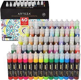 Arteza 3D Fabric Paint, Set of 60, Metallic & Glitter Colors, 1oz Tubes, Glow-in-The-Dark & Vibrant Shades, Textile Paint ...