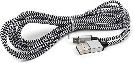 DURAGADGET Braided Silver Nylon 3M Micro USB Data Sync Cable - Suitable for Toshiba at 100| at 300| AT300-101 & Viewsonic ViewPad 7X