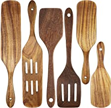 6 Pieces Wooden Cooking Utensils Set Kitchen Utensils Wooden Spatula Slotted Turner Teak Spatula Spurtle Kitchen Tools Set...