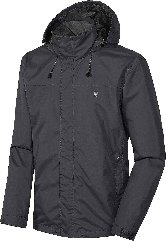Little Donkey Andy Men's Waterproof Rain Jacket Outdoor Lightweight Rain Shell Coat for Hiking, Travel