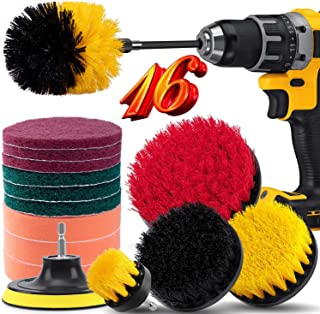 16 Piece Drill Brush Attachment Set, BRITOR Drill Brush Set Power Scrubber with Extend Long Attachment, Scrub Pads & Spong...
