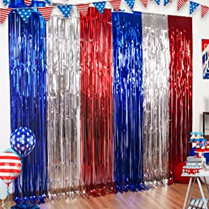 3 Packs 4th of July Party Tinsel Foil Fringe Curtains Red White Blue Photo Backdrops Props 4th of July Decorations America Patriotic Party Independence Day Labor Day for American Theme