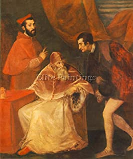 TITIAN POPE PAUL III HIS COUSINS ALESSANDRO OTTAVIO FARNESE ARTIST PAINTING OIL 48x40inch