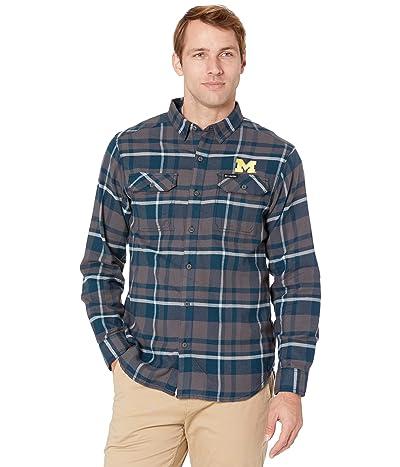 Columbia College Michigan Wolverines Flare Gun Flannel Long Sleeve Shirt (Collegiate Navy Plaid) Men