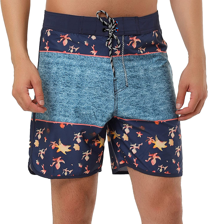 Lars Amadeus Men's Swim Shorts Summer Contrast Color Drawstring Waist Beach Board Shorts