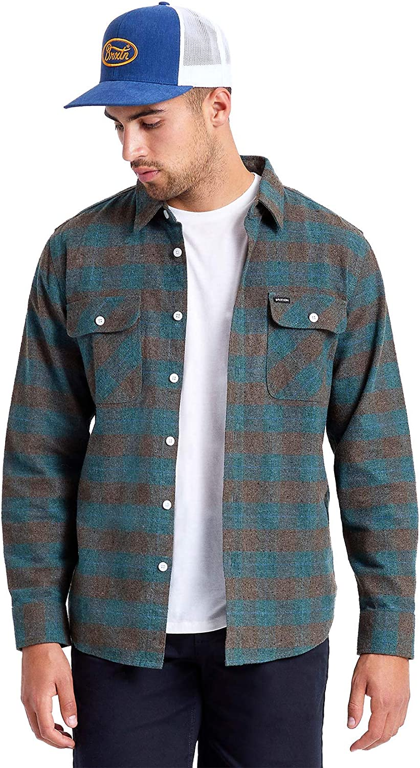 Brixton Max Large discharge sale 69% OFF Men's Bowery Flannel Sleeve Long