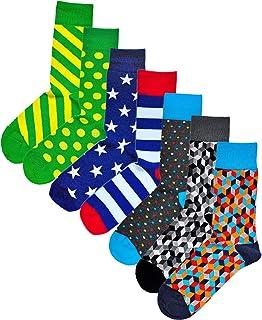 Calcetines Geométricos Divertidos Colores Hombre Algodón de Calidad