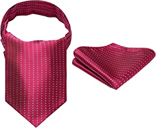 Men's Ascot Houndstooth Dot Jacquard Woven Gift Cravat Tie and Pocket Square Set