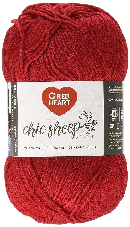 Red Heart Chic Sheep Marly Bird, Lipstick Yarn,