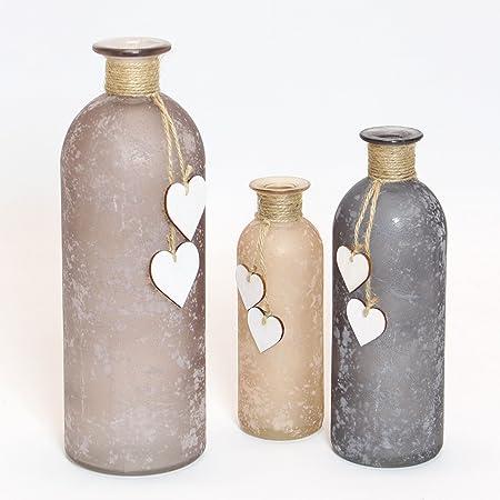 Frank Flechtwaren Lot de 3vases décoratifs avec petits cœurs