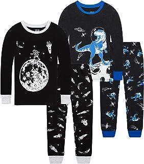 100% Cotton Boys Christmas Pajamas Long Sleeve Toddler...
