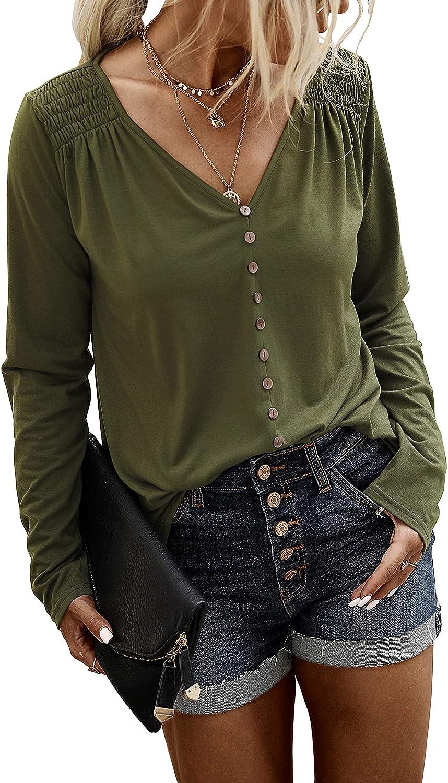 BTFBM Women's Sweatshirts Casual Long Sleeve V Neck Buttons Solid Color Irregular Hem Loose Pullover Tops Blouses Shirts