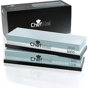 ChefMe! Schleifstein Set 4-in-1 mit deutscher Anleitung 400/1000/3000/8000 - Wetzstein zum Messer schärfen mit rutschfester Unterlage