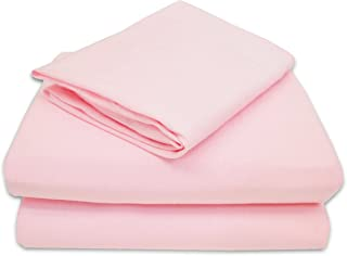 TL Care 100% Natural Jersey Cotton 3-Piece Toddler Sheet Set, Pink, Soft Breathable, for Girls