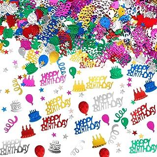 3000 Pieces Happy Birthday Confetti Birthday Cake Confetti Metallic Foil Balloon Confetti Table Scatter Confetti Decoratio...