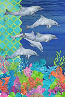 تولاند هوم جاردن الغوص الدلافين 28 × 40 بوصة ديكور ملون الشعاب المرجانية الاستوائية السباحة دولفين العلم