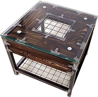 CHYRKA® Woonkamertafel salontafel massief hout metaal glazen tafel hout glas HALICZ Loft handgemaakt (56 x 56 cm H=50 cm, ...