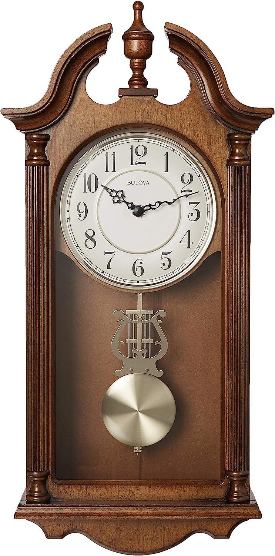 Wall Clocks Home Brown Cherry Bulova Daily Wall Clock 18 thelibas.com
