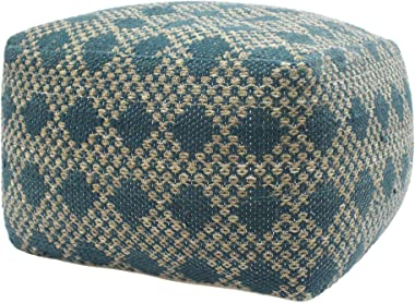 Christopher Knight Home 307628 Georgia Outdoor Large Square Casual Pouf, Boho, Beige and Teal Yarn