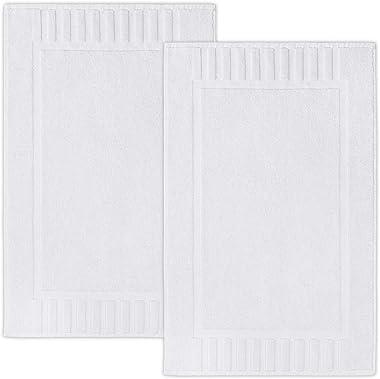 "Luxury Bath Mat Floor Towel Set - Absorbent Cotton Hotel Spa Shower/Bathtub Mats [Not a Bathroom Rug] 22""x34"" | White | 2 Pac"