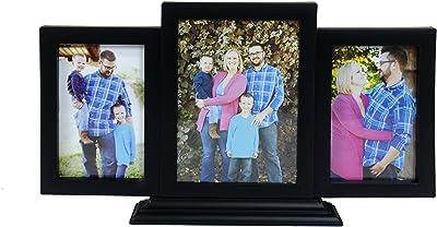Blacksmith Plastic Three Photo Frame Table Top Collage (41 cm x 23 cm, Black)