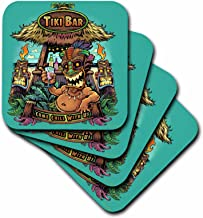 3D Rose Guy Hanging Out At a Tiki Bar Soft Coasters, Multicolor