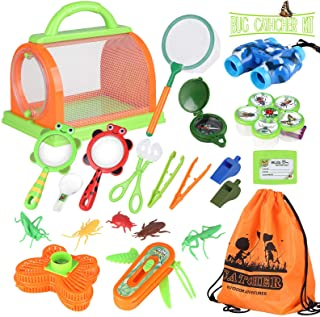 Butterfly Net Bug Catcher Toys Adventure Camping Set for 3-12 year old Children with Binoculars Kids Outdoor Explorer Kit Educational Nature Exploration Toys Gift/for Boys /& Girls Magnifying Glass